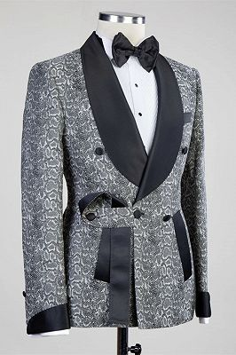 Khalil Gray Double Breasted Jacquard Wedding Men Suits with Black Lapel_2