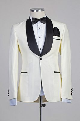 Moses Ivory One Button Simple Slim Fit Wedding Suits with Black Lapel_1