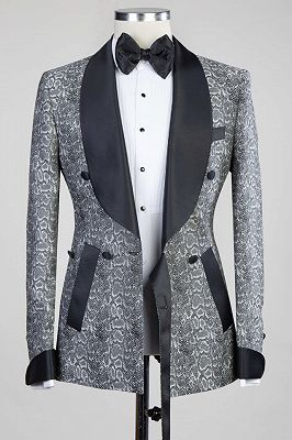 Khalil Gray Double Breasted Jacquard Wedding Men Suits with Black Lapel_3