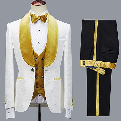Cyrus Three Pieces Jacquard White Wedding Men's Suit with Velvet Lapel_3