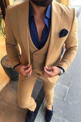 Alijah Fashion Peaked Lapel Three Pieces Business Men Suits_1