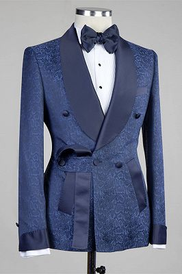 Nelson Dark Navy Slim Fit Double Breasted Fashion Men Suits for Wedding_2