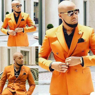 Noel Orange Peaked Lapel Slim Fit Stylish Prom Men Suits_3