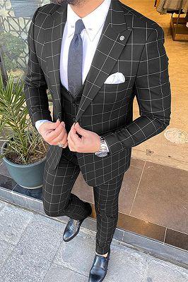 Micheal Black Plaid Peaked Lapel Three-Pieces Men Suits_1