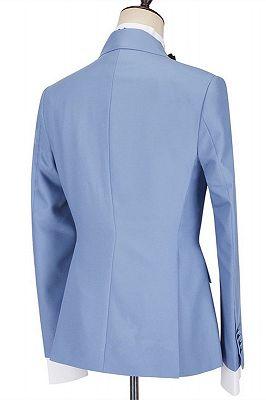 Porter Blue Slim Fit Peaked Lapel Ruffles Fashion Prom Men Suits_2