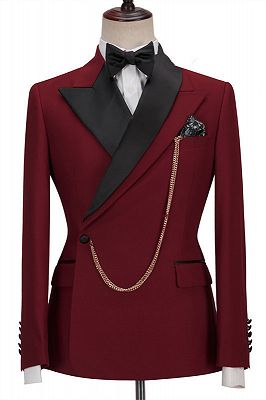 Gunner Red Peaked Lapel Slim Fit Fashion Men Suits for Prom_1