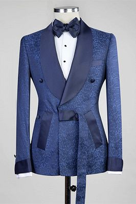 Nelson Dark Navy Slim Fit Double Breasted Fashion Men Suits for Wedding_1