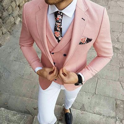 Reese Pink Three-Pieces Slim Fit Notched Lapel Prom Men Suits_2