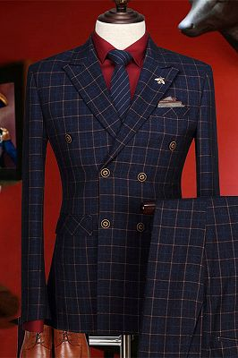 Terry Dark Blue Plaid Peaked Lapel Double Breasted Prom Suits_1
