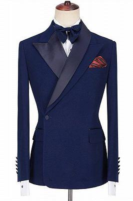 Jamarion Dark Navy Peaked Lapel Stylish Men Suits for Prom_1