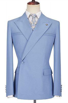 Porter Blue Slim Fit Peaked Lapel Ruffles Fashion Prom Men Suits_1
