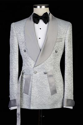 Braiden Silver Shawl Lapel Double Breasted Jacquard Wedding Suits_4