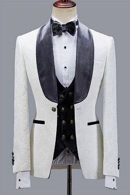 Maverick Stylish Jacquard Slim Fit Shawl Lapel Wedding Men Suits_1