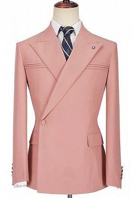 Leonel Pink Peaked Lapel Ruffles Fashion Slim Fit Prom Men Suits_1