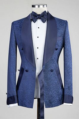 Nelson Dark Navy Slim Fit Double Breasted Fashion Men Suits for Wedding_4