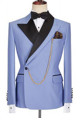 Kale Fashion Blue Peaked Lapel Slim Fit Bespoke Men Suits_1