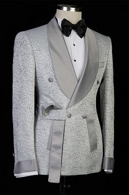 Braiden Silver Shawl Lapel Double Breasted Jacquard Wedding Suits_3
