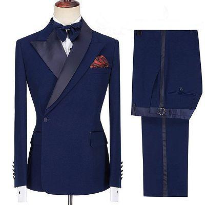 Jamarion Dark Navy Peaked Lapel Stylish Men Suits for Prom_3