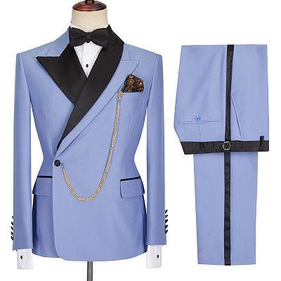 Kale Fashion Blue Peaked Lapel Slim Fit Bespoke Men Suits_4