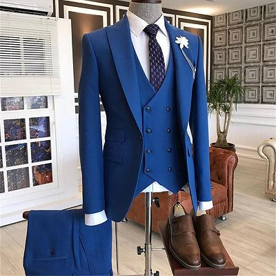 Quincy Stylish Blue Three-Pieces Peaked Lapel Men Suits_2