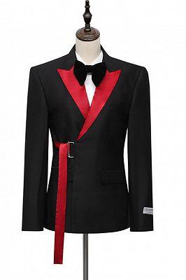Cyrus Fashion Black Peaked Lapel Slim Fit Men Suits With Adjustable Buckle_1