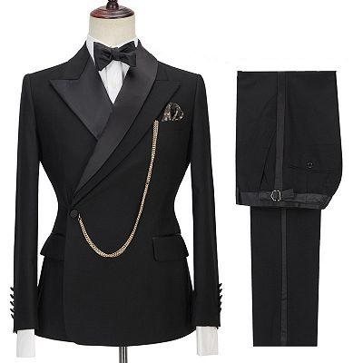 Jadon Black Peaked Lapel Fashion Slim Fit Formal Business Men Suits_3