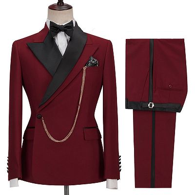 Gunner Red Peaked Lapel Slim Fit Fashion Men Suits for Prom_2