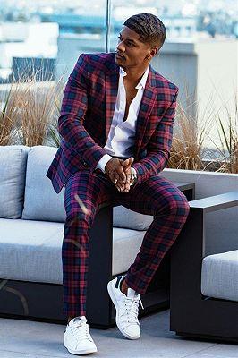 Tshibanda Fashion Plaid Slim Fit Bespoke Prom Men's Suit_1