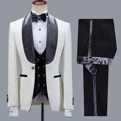 Maverick Stylish Jacquard Slim Fit Shawl Lapel Wedding Men Suits_3