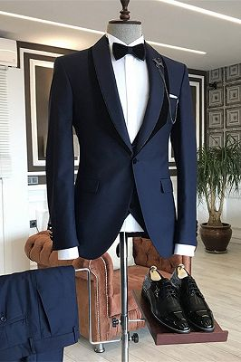 Tomas Navy Blue Shawl Lapel One Button Wedding Groom Suits_1