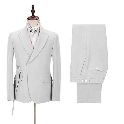 Joey Handsome Peaked Lapel  Silver Men Suits with Adjustable Buckle_2