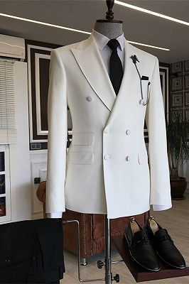 Javion White Double Breasted Slim Fit Stylish Men Suits