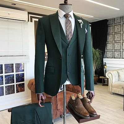 Cason Dark Green Bespoke Peaked Lapel Three Pieces Men Suits_2