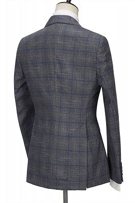 Brendon Gray Bespoke Notched Lapel Three Pieces Plaid Slim Fit Formal Suits_2