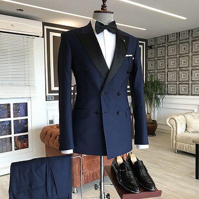 Nico Dark Navy Peaked Lapel Double Breasted Slim Fit Men Suits_2