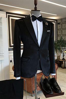 Ariel Black Velvet One Button Peaked Lapel Slim Fit Men Suits