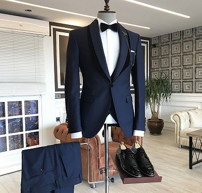 Tomas Navy Blue Shawl Lapel One Button Wedding Groom Suits_2