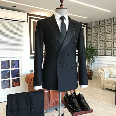 Braylen Black Double Breasted Peaked Lapel Fashion Men Suits_2