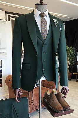 Cason Dark Green Bespoke Peaked Lapel Three Pieces Men Suits