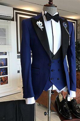 Modern Dark Blue Fashion Bespoke Peaked Lapel Men Suits