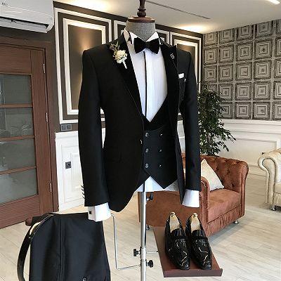 Stylish Black New Arrival Slim Fit 3-Piece Peaked Lapel Men Suits_2