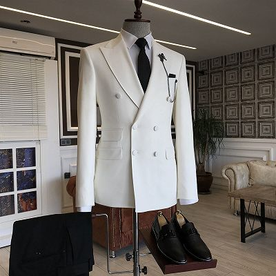 Javion White Double Breasted Slim Fit Stylish Men Suits_2
