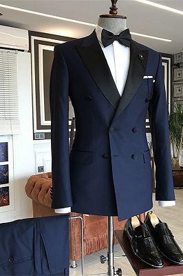 Nico Dark Navy Peaked Lapel Double Breasted Slim Fit Men Suits_1