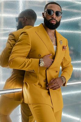 Reginald Bespoke Yellow Double Breasted Fashion Men Suits for Prom_2