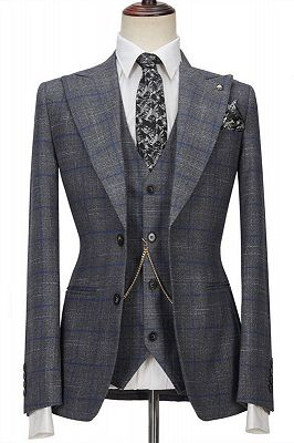 Brendon Gray Bespoke Notched Lapel Three Pieces Plaid Slim Fit Formal Suits_1