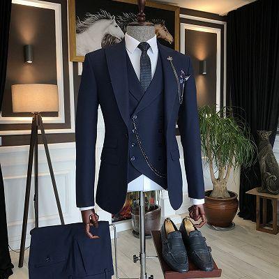 Aryan Dark Navy Three Pieces Close Fitting Peaked Lapel Men Suits_2