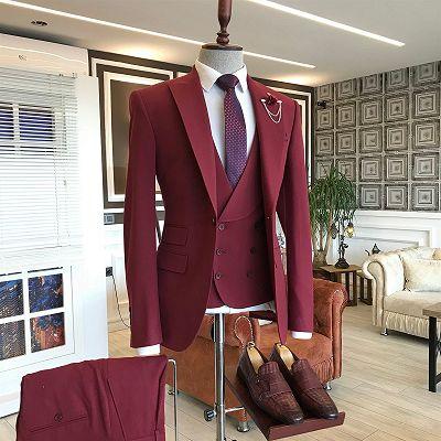 Aldo Dark Red Three Pieces Peaked Lapel Men Suits_2