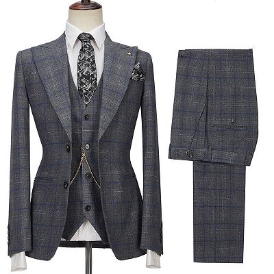 Brendon Gray Bespoke Notched Lapel Three Pieces Plaid Slim Fit Formal Suits_3