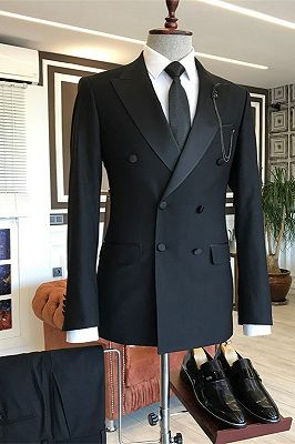 Braylen Black Double Breasted Peaked Lapel Fashion Men Suits