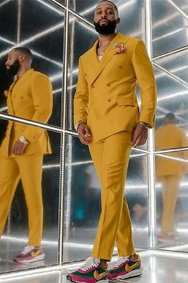 Reginald Bespoke Yellow Double Breasted Fashion Men Suits for Prom_1
